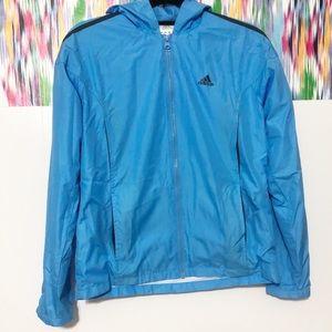 Adidas blue full zip windbreaker track jacket hood